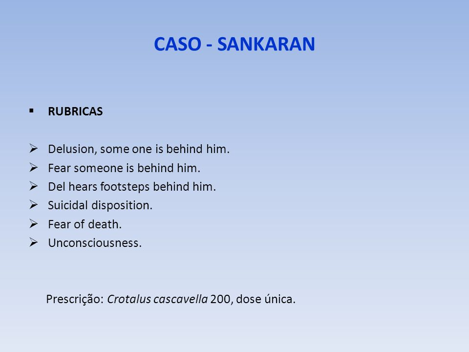CASO - SANKARAN RUBRICAS Delusion, some one is behind him.