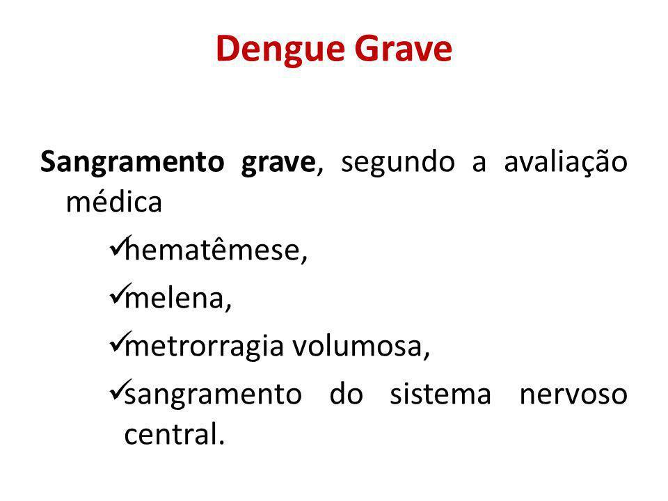 Dengue Grave Sangramento grave, segundo a avaliação médica hematêmese,