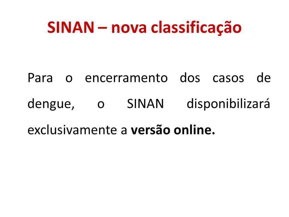 SINAN – nova classificação