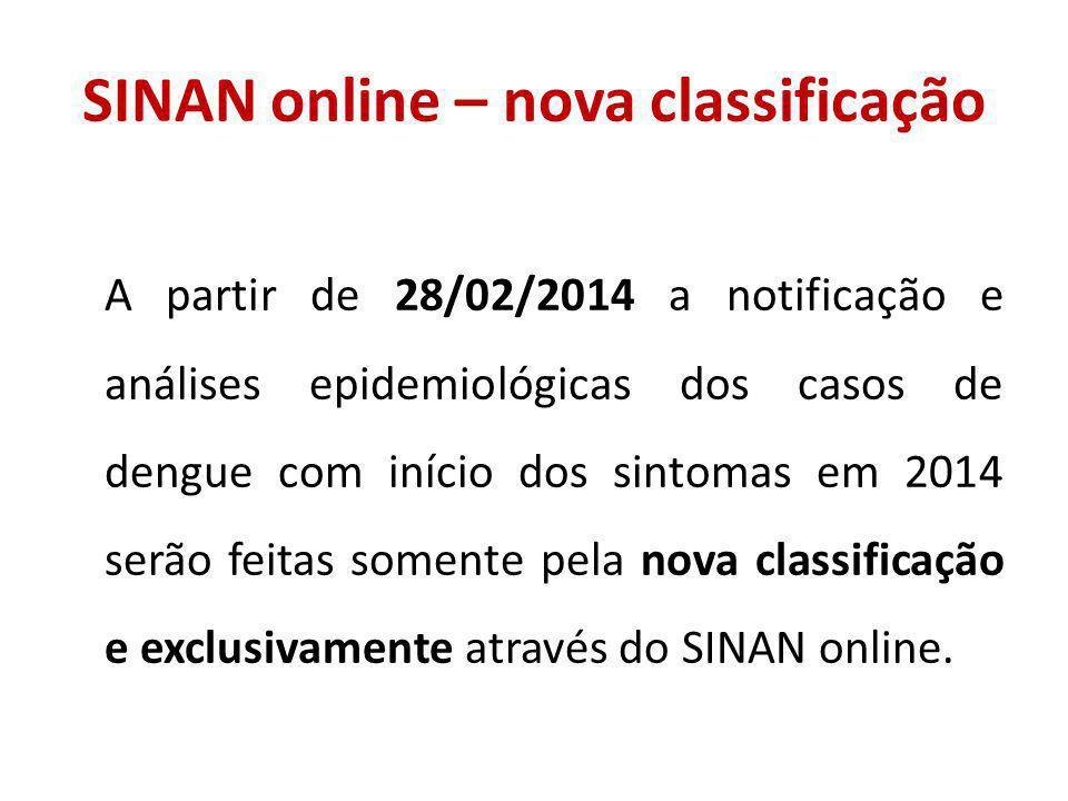 SINAN online – nova classificação