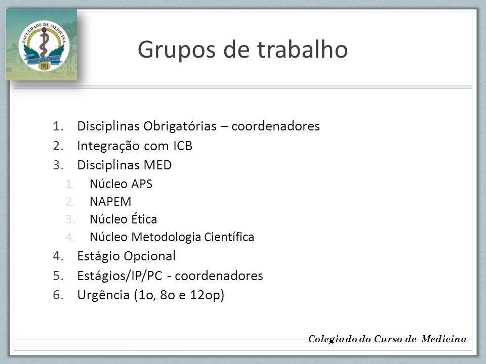 Grupos de trabalho Disciplinas Obrigatórias – coordenadores