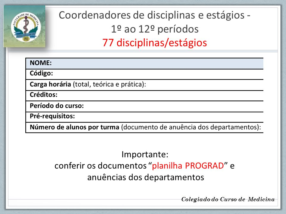 Coordenadores de disciplinas e estágios - 1º ao 12º períodos 77 disciplinas/estágios