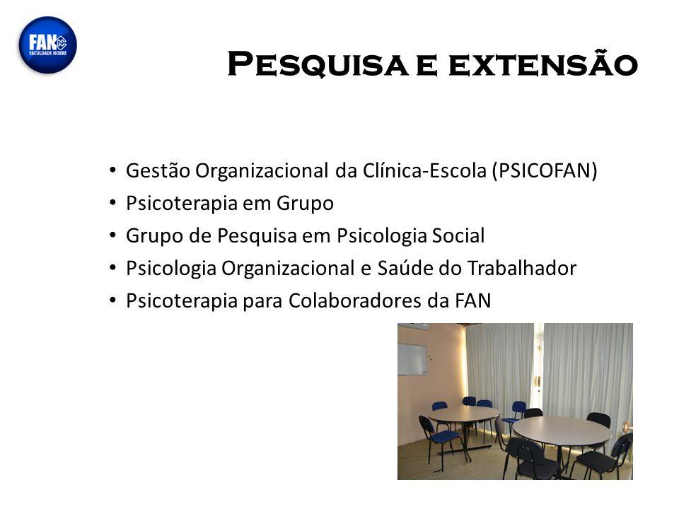 Pesquisa e extensão Gestão Organizacional da Clínica-Escola (PSICOFAN)