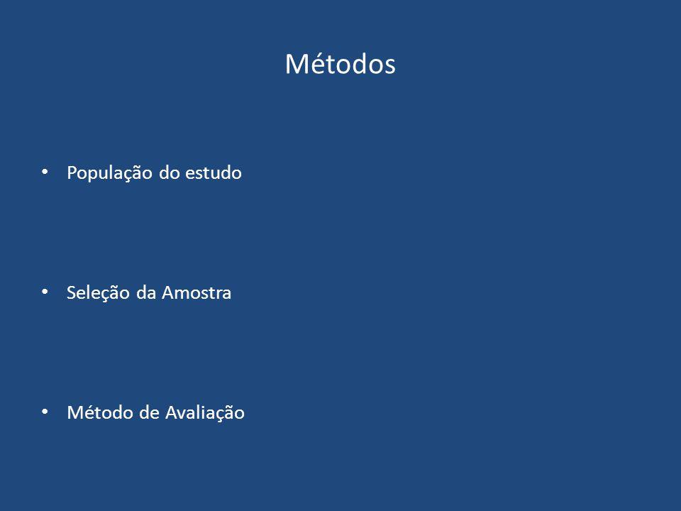 Métodos População do estudo Seleção da Amostra Método de Avaliação