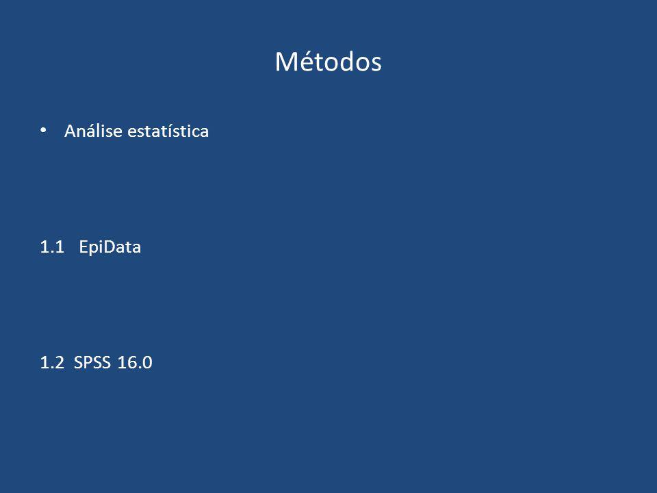 Métodos Análise estatística 1.1 EpiData 1.2 SPSS 16.0