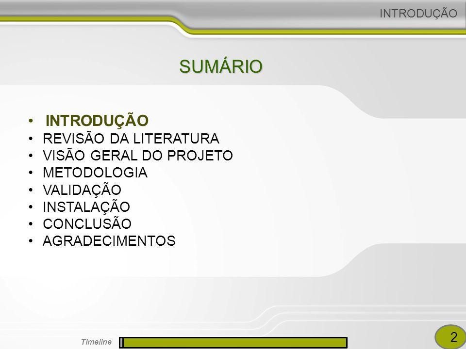 SUMÁRIO INTRODUÇÃO REVISÃO DA LITERATURA VISÃO GERAL DO PROJETO