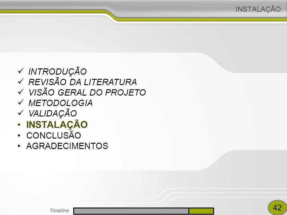 INSTALAÇÃO INTRODUÇÃO REVISÃO DA LITERATURA VISÃO GERAL DO PROJETO