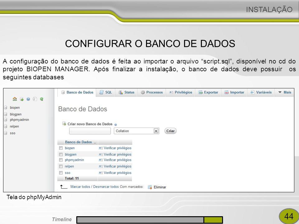 CONFIGURAR O BANCO DE DADOS