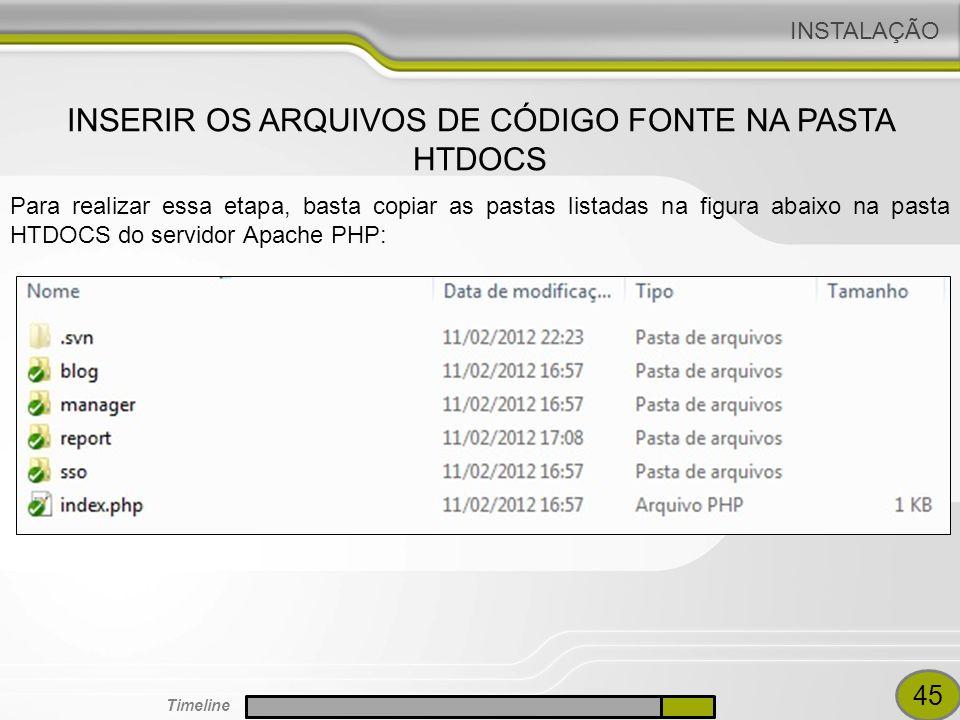 INSERIR OS ARQUIVOS DE CÓDIGO FONTE NA PASTA HTDOCS