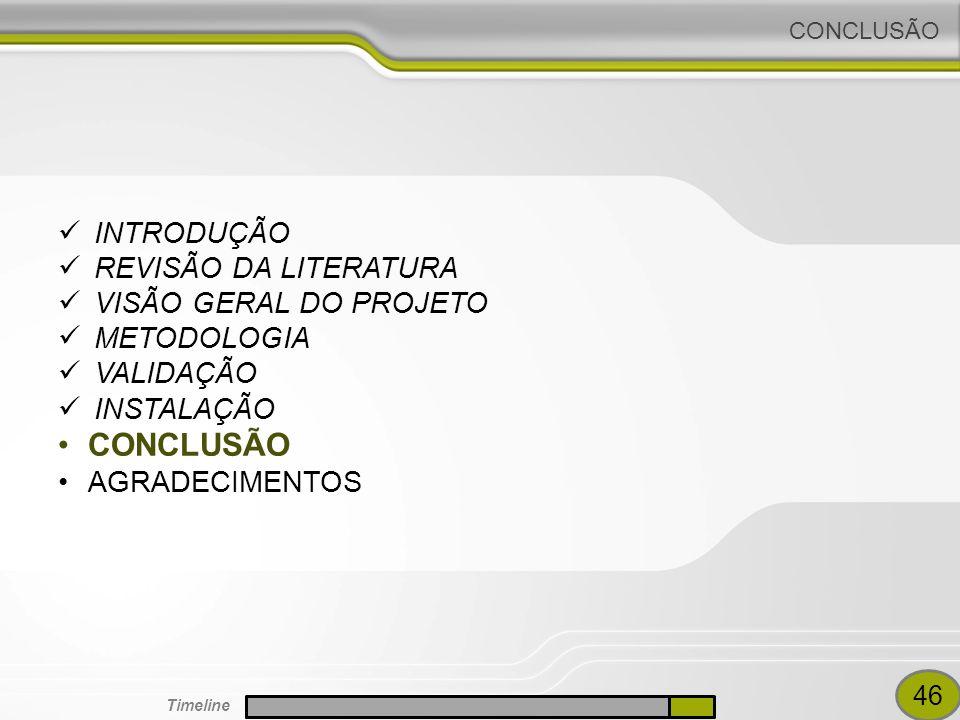 CONCLUSÃO INTRODUÇÃO REVISÃO DA LITERATURA VISÃO GERAL DO PROJETO
