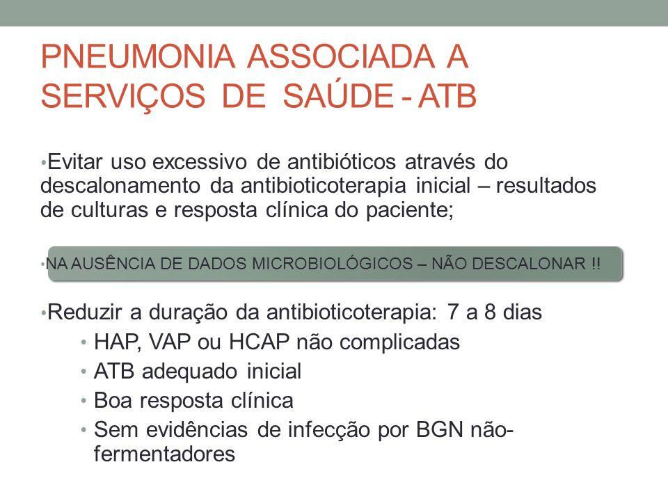 PNEUMONIA ASSOCIADA A SERVIÇOS DE SAÚDE - ATB