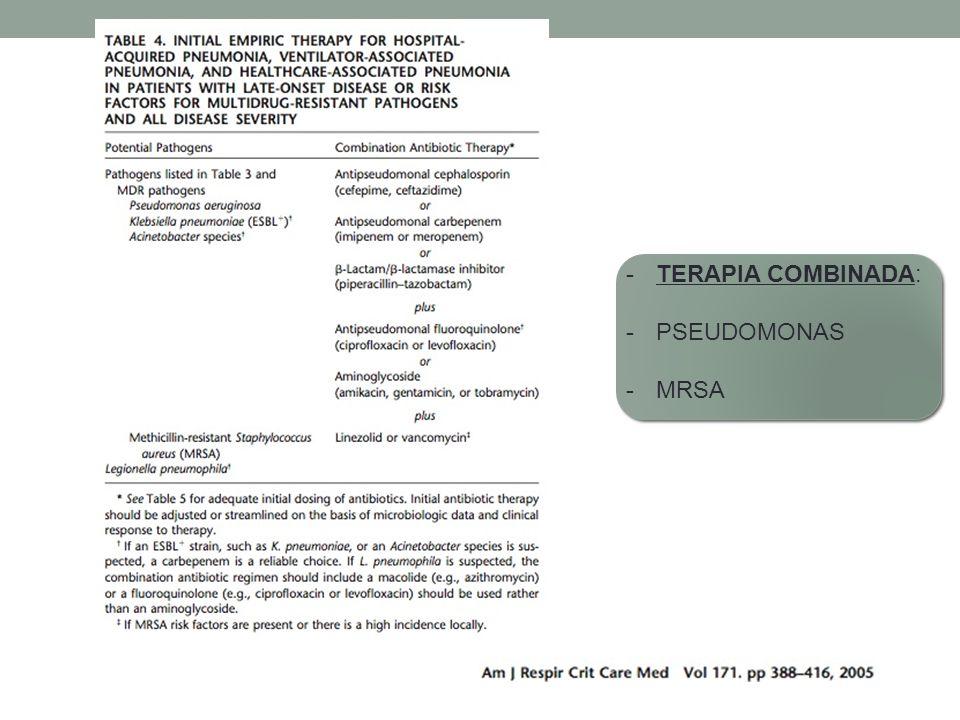 TERAPIA COMBINADA: PSEUDOMONAS MRSA