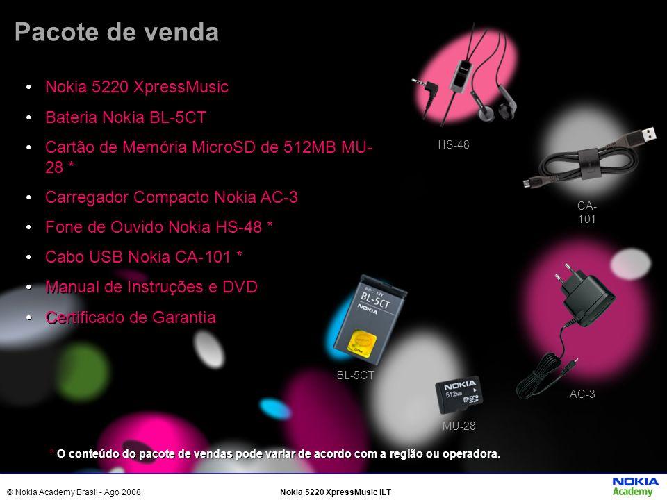 Pacote de venda Nokia 5220 XpressMusic Bateria Nokia BL-5CT