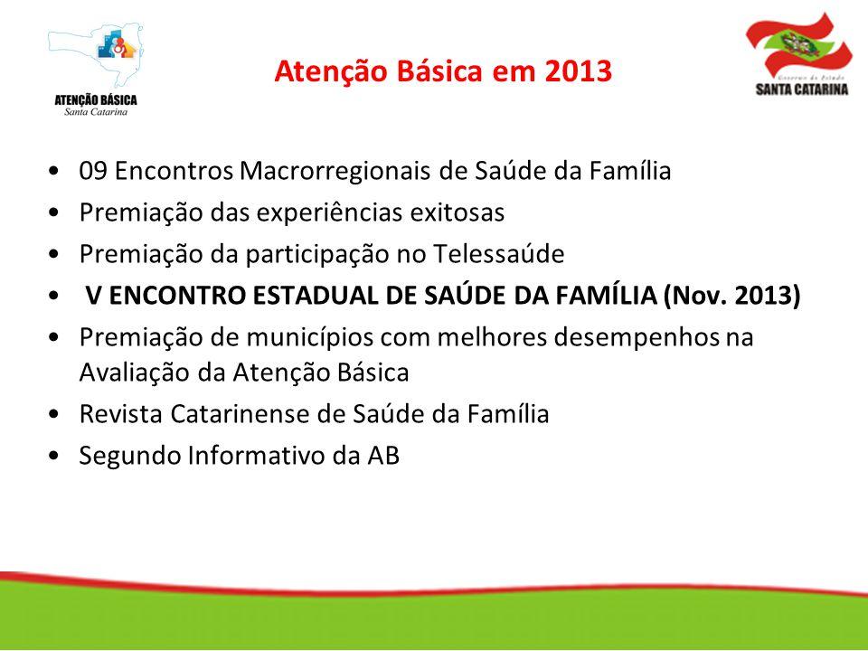 Atenção Básica em 2013 09 Encontros Macrorregionais de Saúde da Família. Premiação das experiências exitosas.