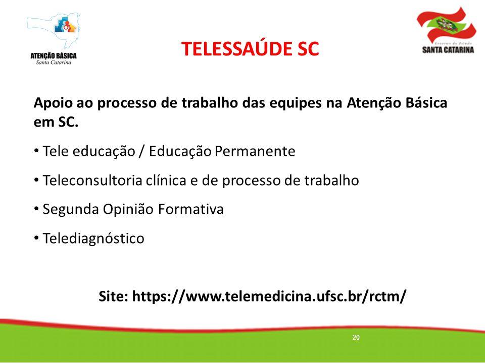 TELESSAÚDE SC Apoio ao processo de trabalho das equipes na Atenção Básica em SC. Tele educação / Educação Permanente.