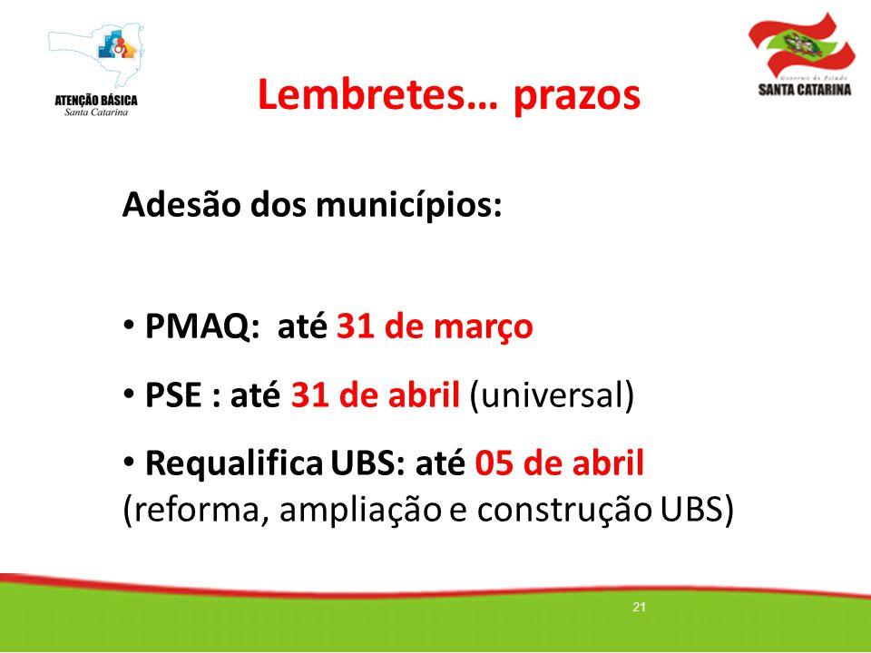 Lembretes… prazos Adesão dos municípios: PMAQ: até 31 de março