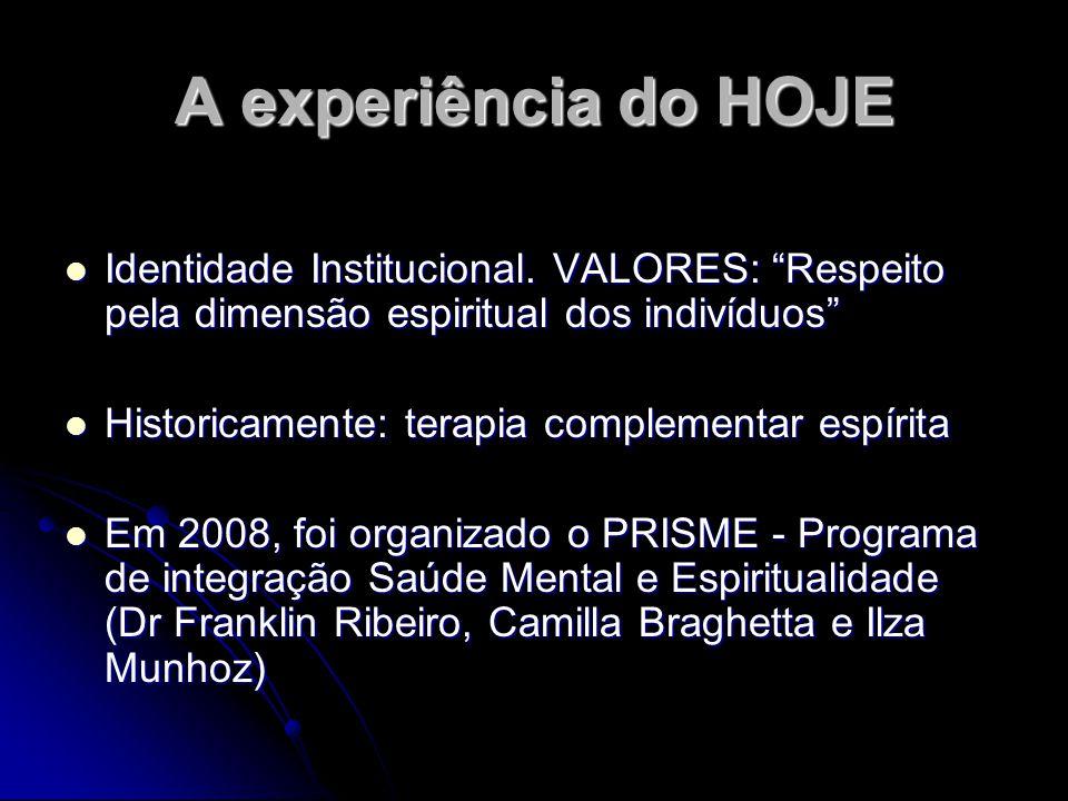A experiência do HOJE Identidade Institucional. VALORES: Respeito pela dimensão espiritual dos indivíduos