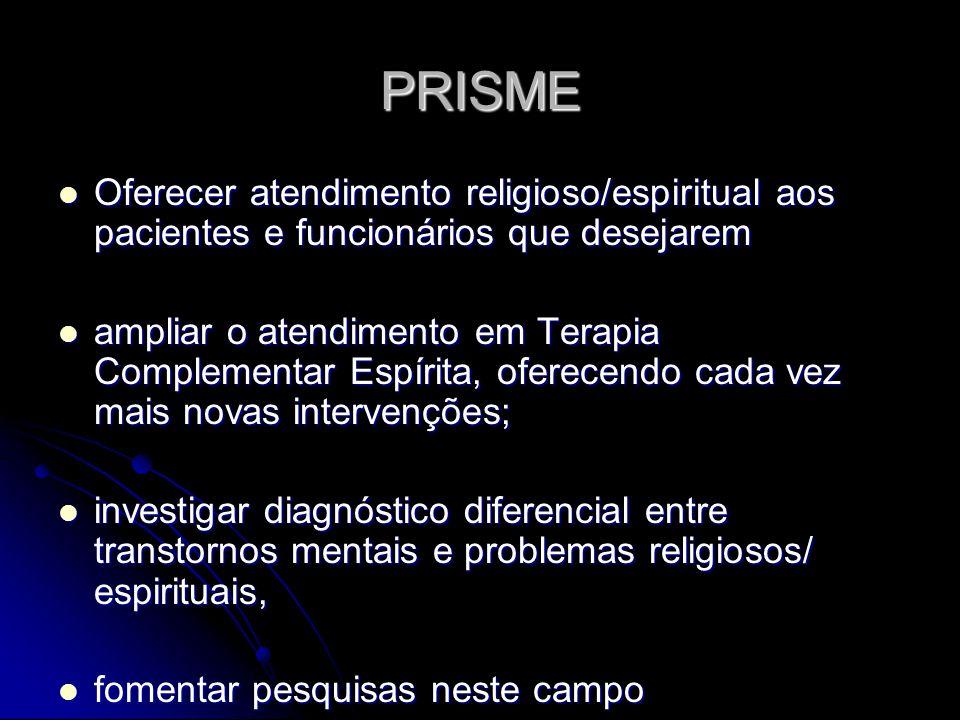 PRISME Oferecer atendimento religioso/espiritual aos pacientes e funcionários que desejarem.