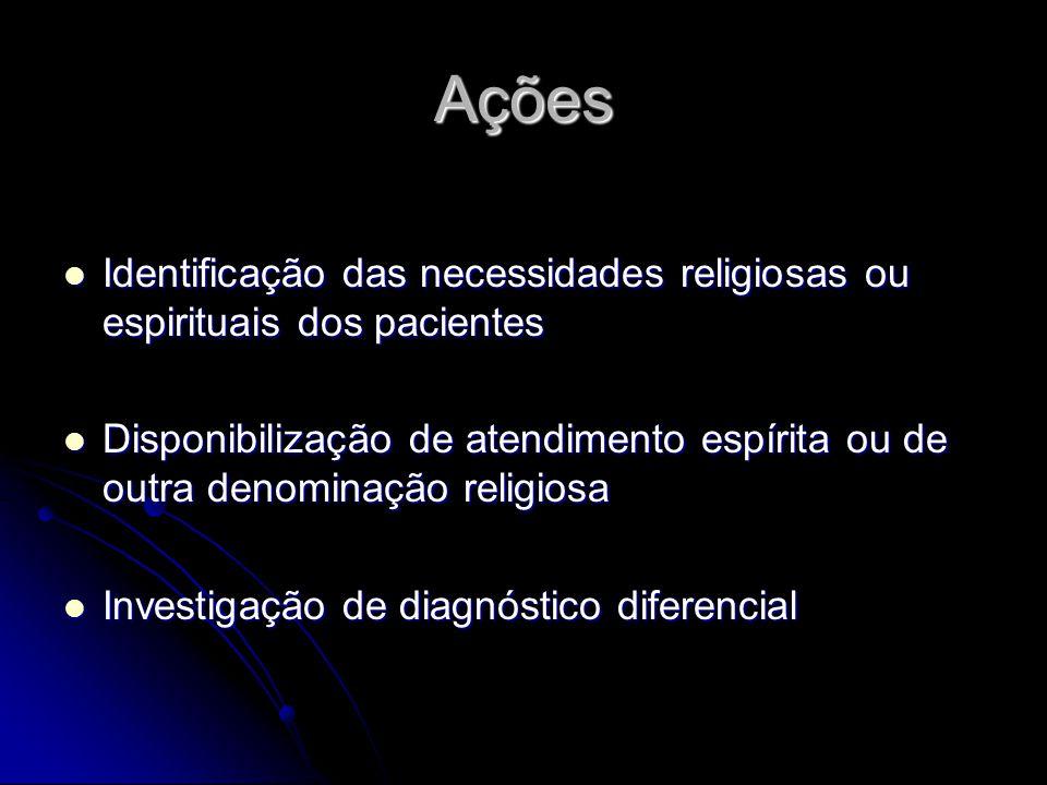 Ações Identificação das necessidades religiosas ou espirituais dos pacientes.