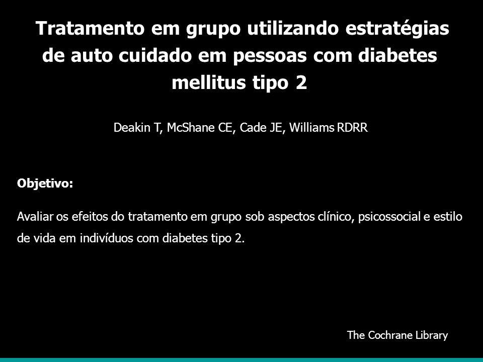 Tratamento em grupo utilizando estratégias de auto cuidado em pessoas com diabetes mellitus tipo 2
