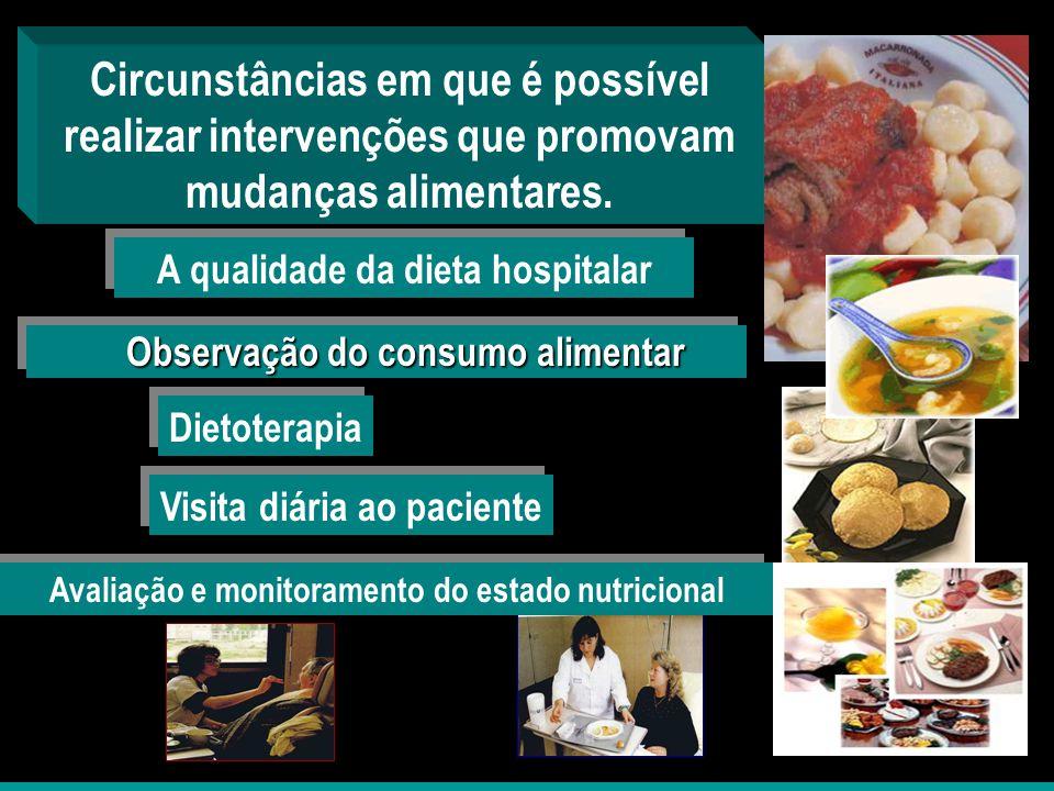 Circunstâncias em que é possível realizar intervenções que promovam mudanças alimentares.