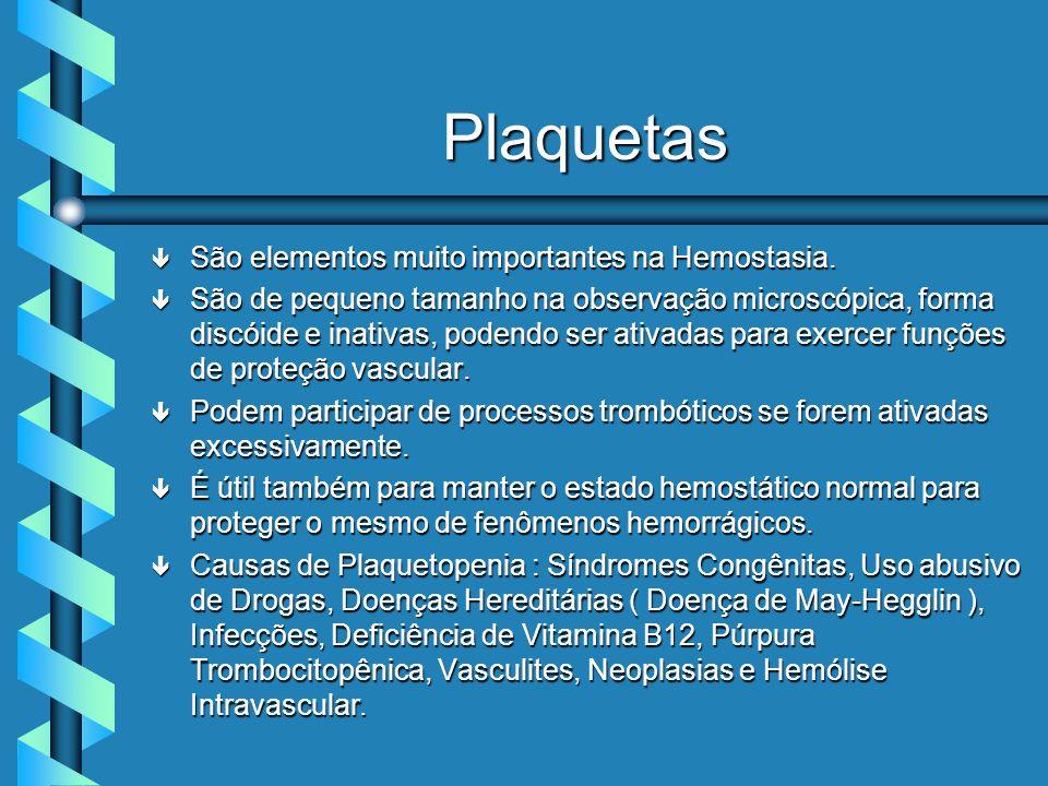 Plaquetas São elementos muito importantes na Hemostasia.