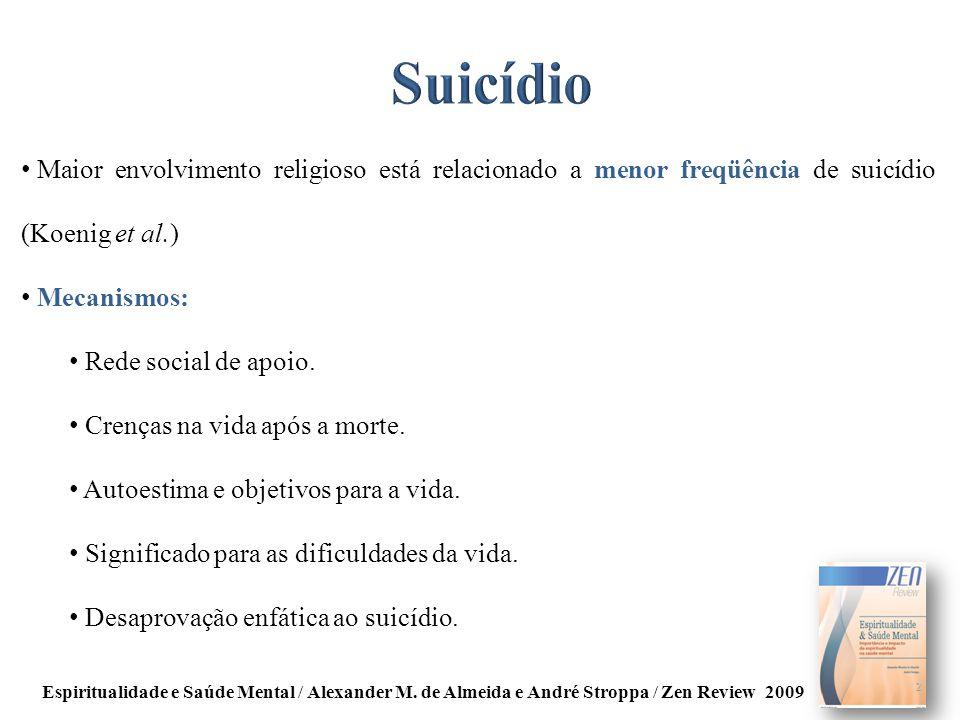 Suicídio Maior envolvimento religioso está relacionado a menor freqüência de suicídio (Koenig et al.)