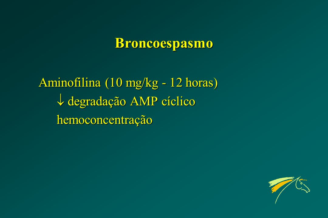 Broncoespasmo Aminofilina (10 mg/kg - 12 horas)