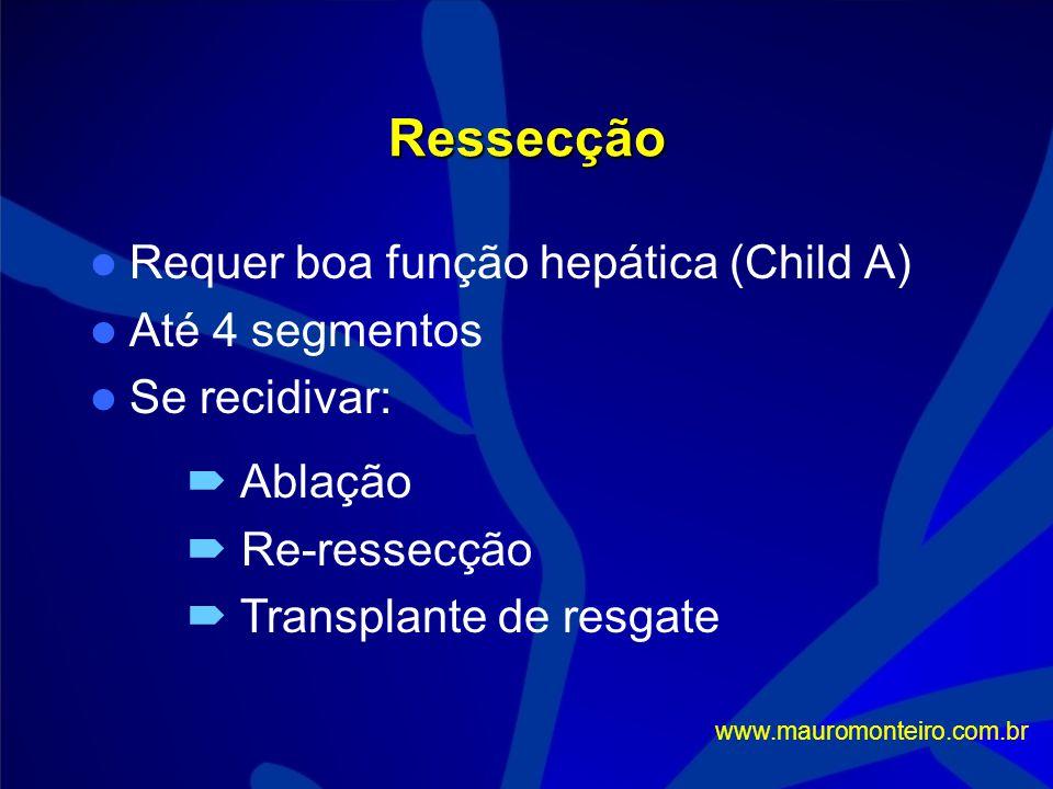 Ressecção Requer boa função hepática (Child A) Até 4 segmentos