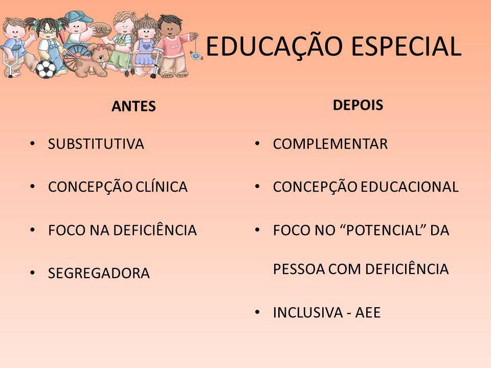 EDUCAÇÃO ESPECIAL ANTES DEPOIS SUBSTITUTIVA CONCEPÇÃO CLÍNICA
