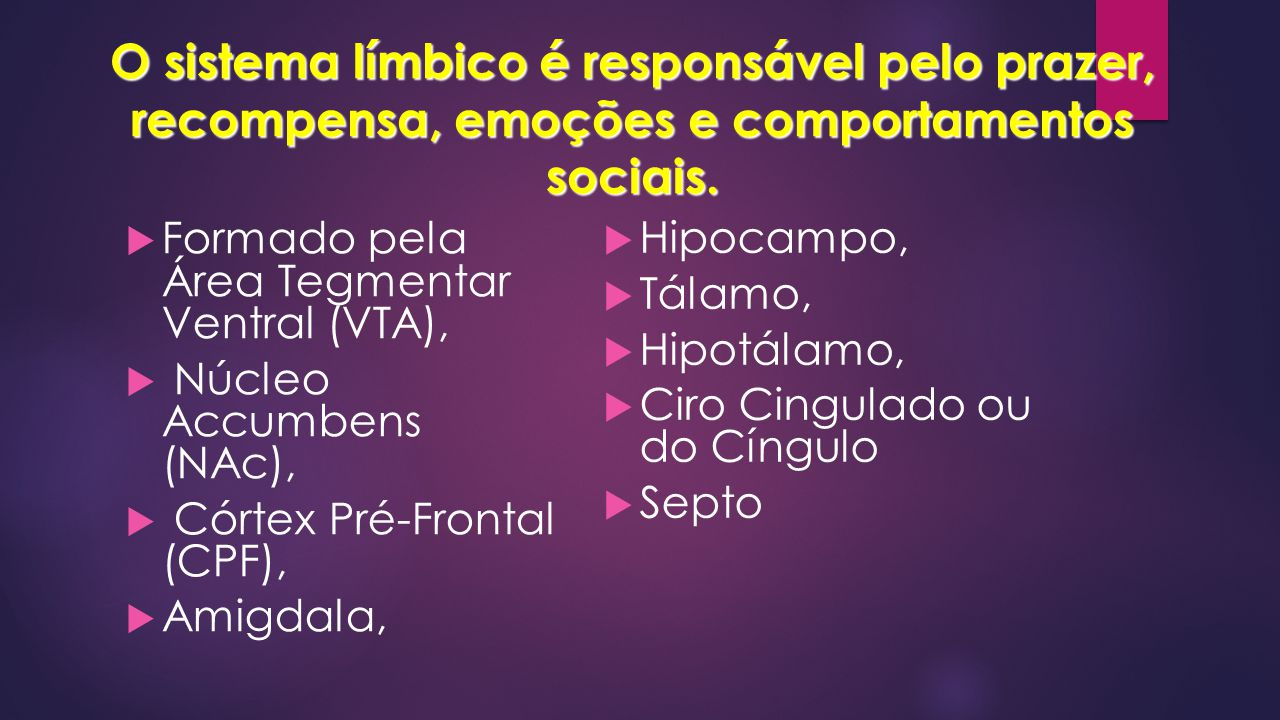 O sistema límbico é responsável pelo prazer, recompensa, emoções e comportamentos sociais.