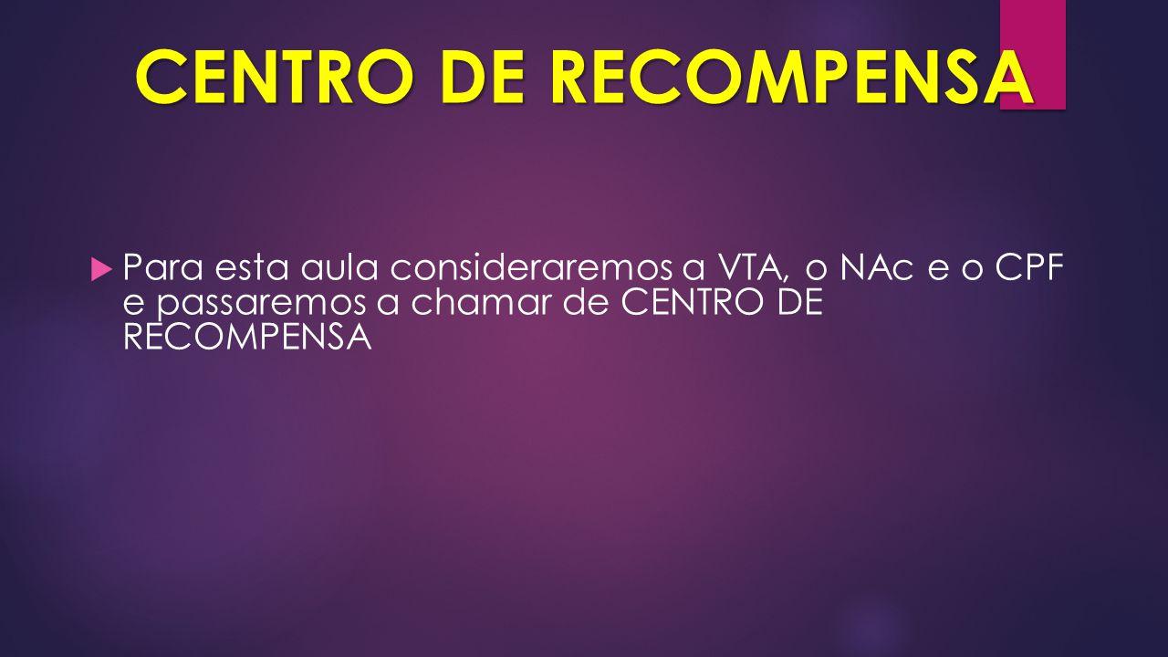 CENTRO DE RECOMPENSA Para esta aula consideraremos a VTA, o NAc e o CPF e passaremos a chamar de CENTRO DE RECOMPENSA.