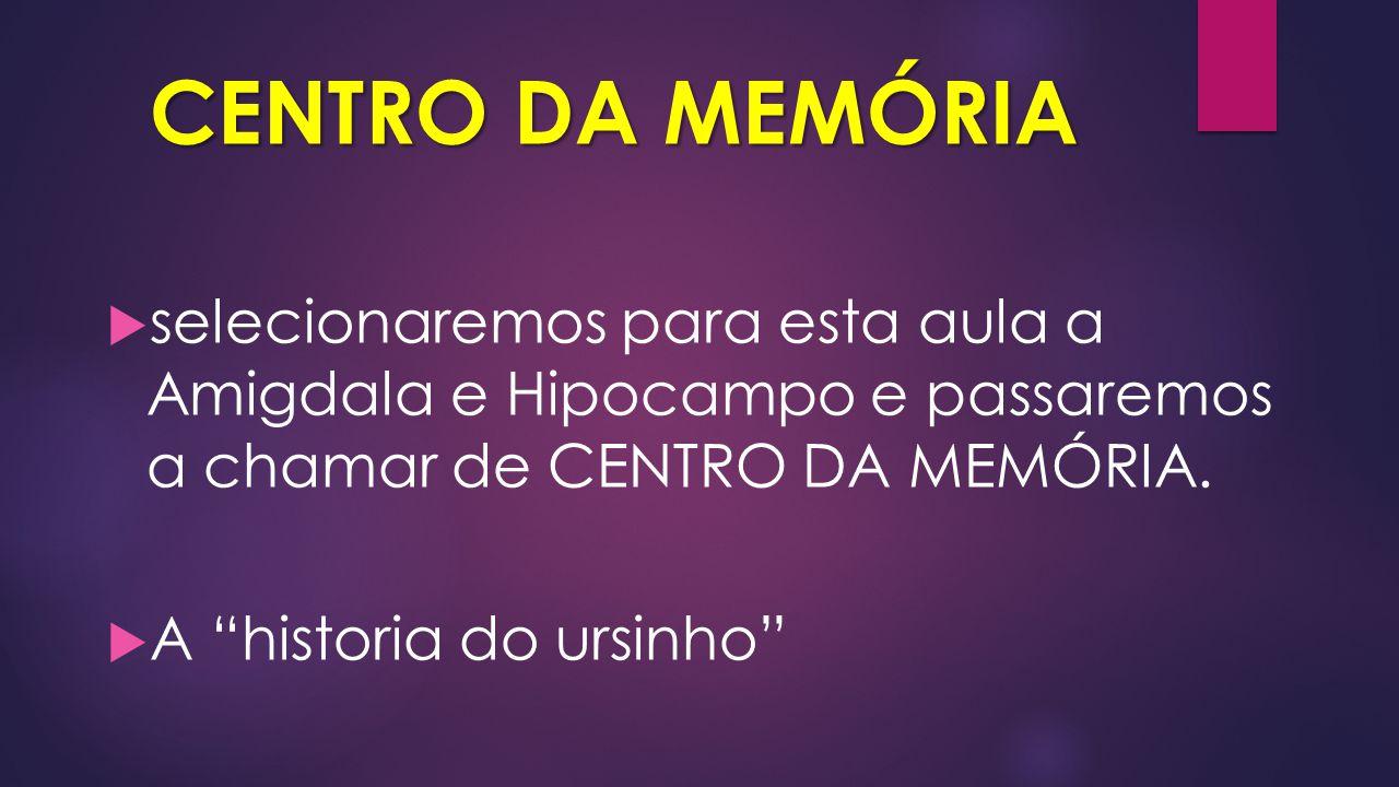 CENTRO DA MEMÓRIA selecionaremos para esta aula a Amigdala e Hipocampo e passaremos a chamar de CENTRO DA MEMÓRIA.