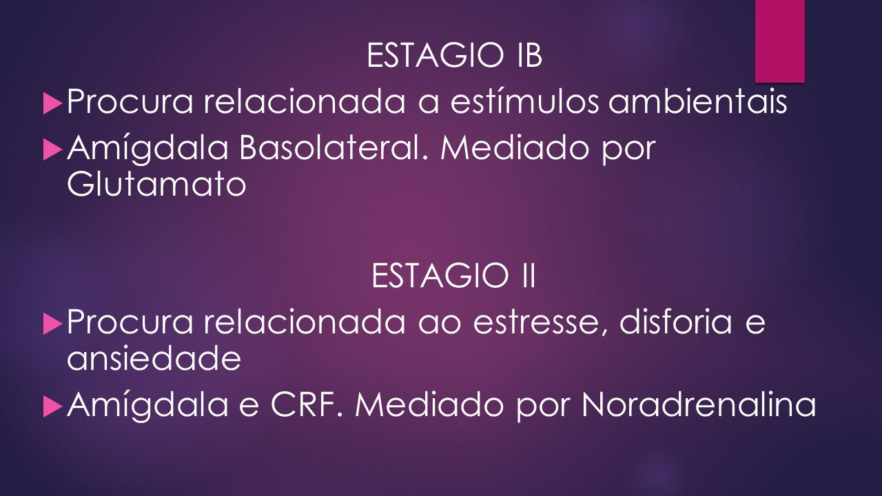 ESTAGIO IB Procura relacionada a estímulos ambientais. Amígdala Basolateral. Mediado por Glutamato.