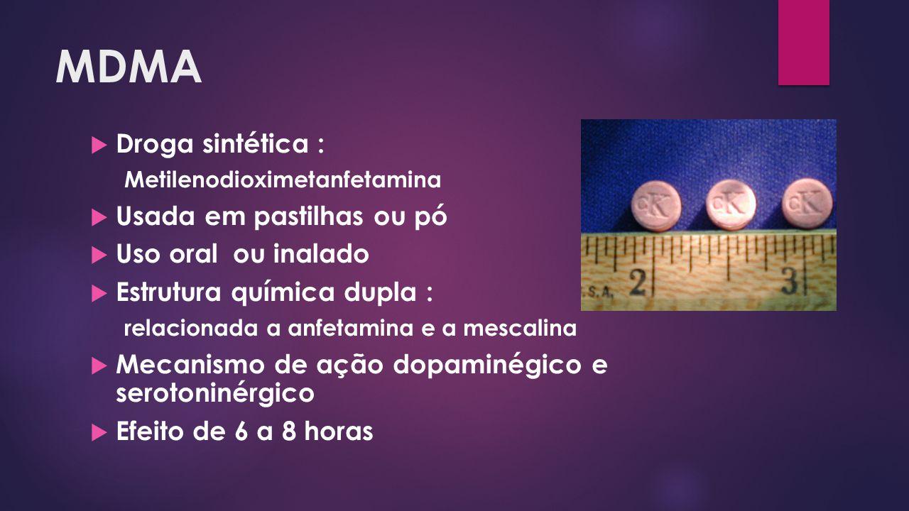 MDMA Droga sintética : Usada em pastilhas ou pó Uso oral ou inalado