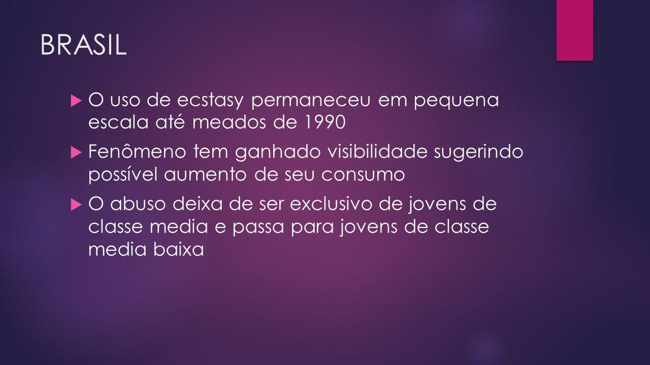 BRASIL O uso de ecstasy permaneceu em pequena escala até meados de 1990.