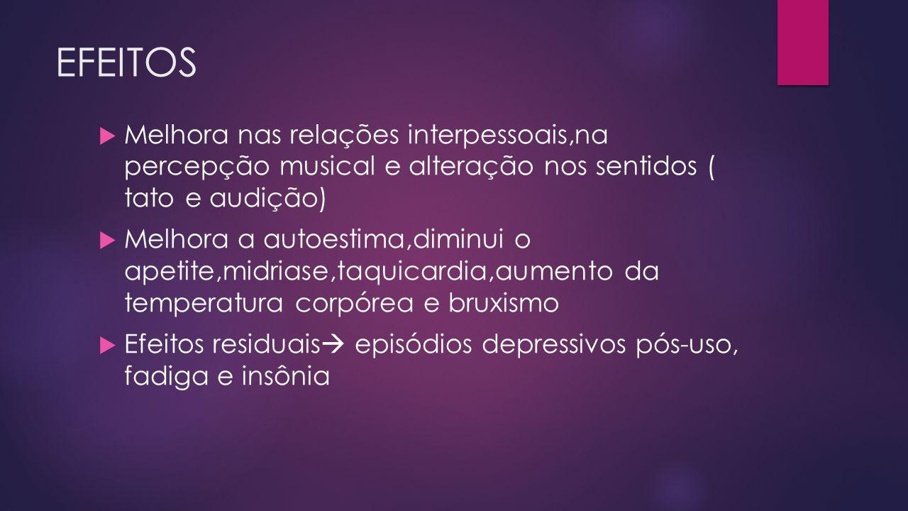 EFEITOS Melhora nas relações interpessoais,na percepção musical e alteração nos sentidos ( tato e audição)