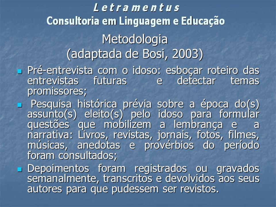 Metodologia (adaptada de Bosi, 2003)