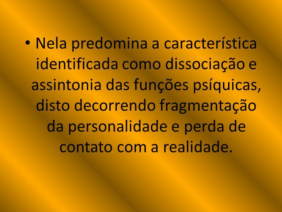 Nela predomina a característica identificada como dissociação e assintonia das funções psíquicas, disto decorrendo fragmentação da personalidade e perda de contato com a realidade.
