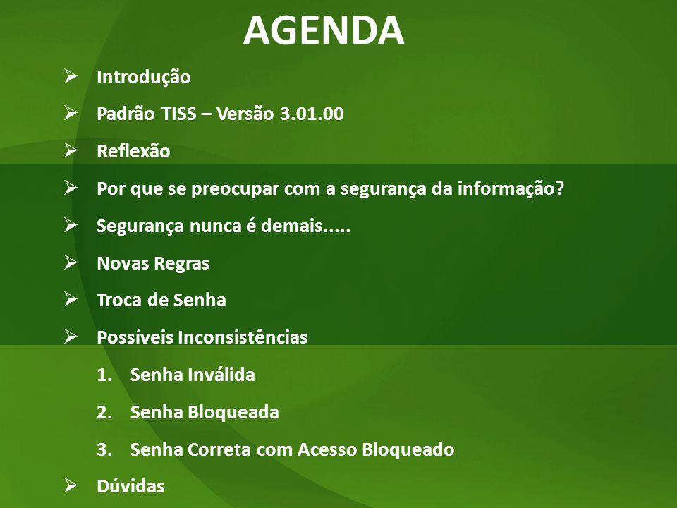 AGENDA Introdução Padrão TISS – Versão 3.01.00 Reflexão
