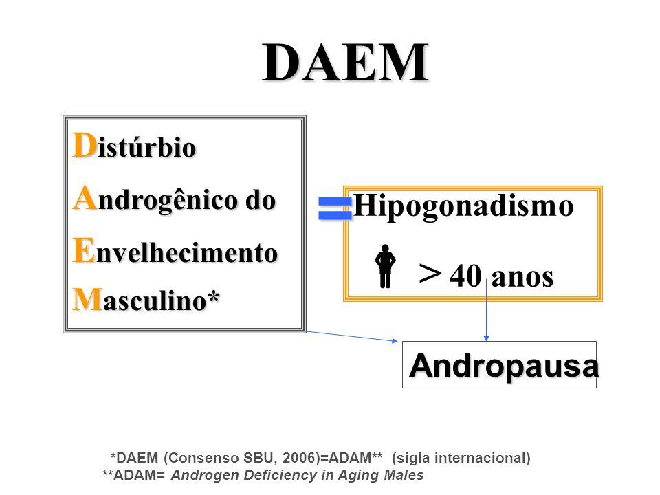 = > 40 anos DAEM Distúrbio Androgênico do Envelhecimento