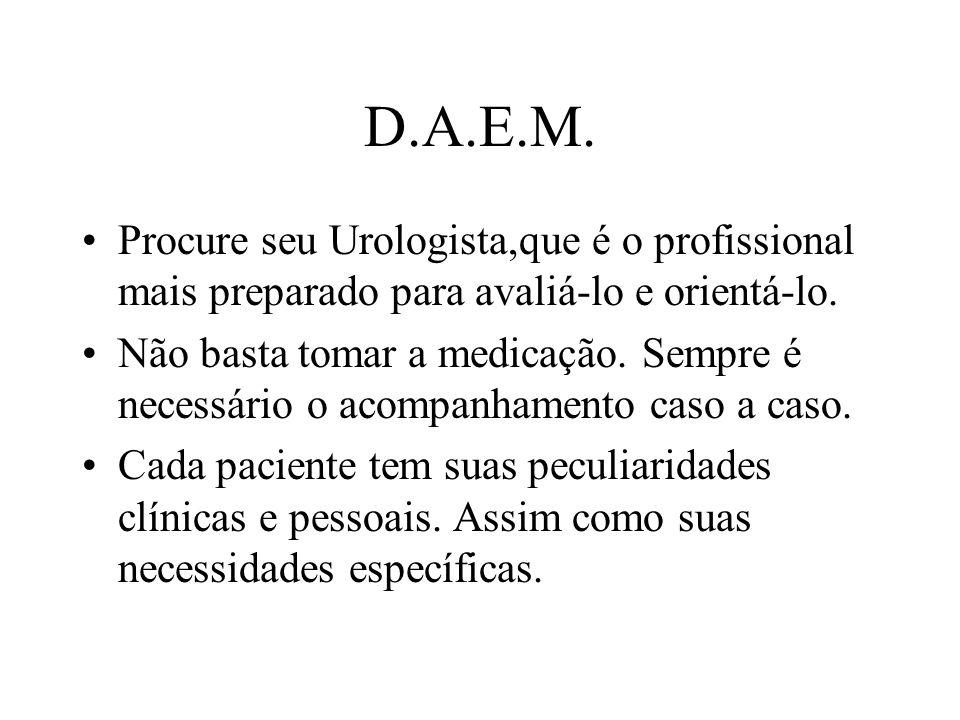 D.A.E.M. Procure seu Urologista,que é o profissional mais preparado para avaliá-lo e orientá-lo.