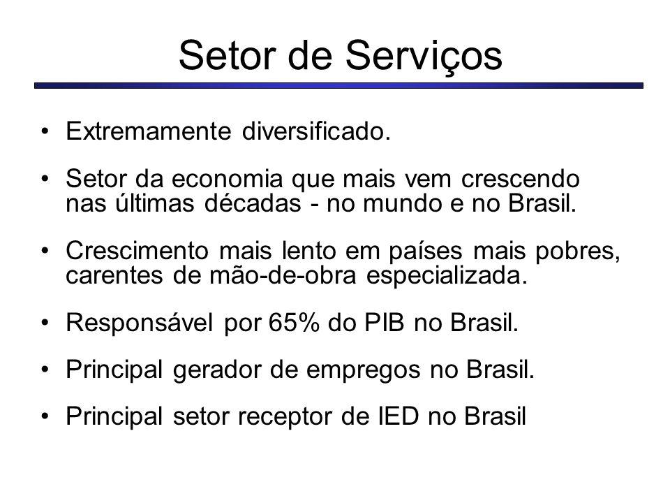 Setor de Serviços Extremamente diversificado.