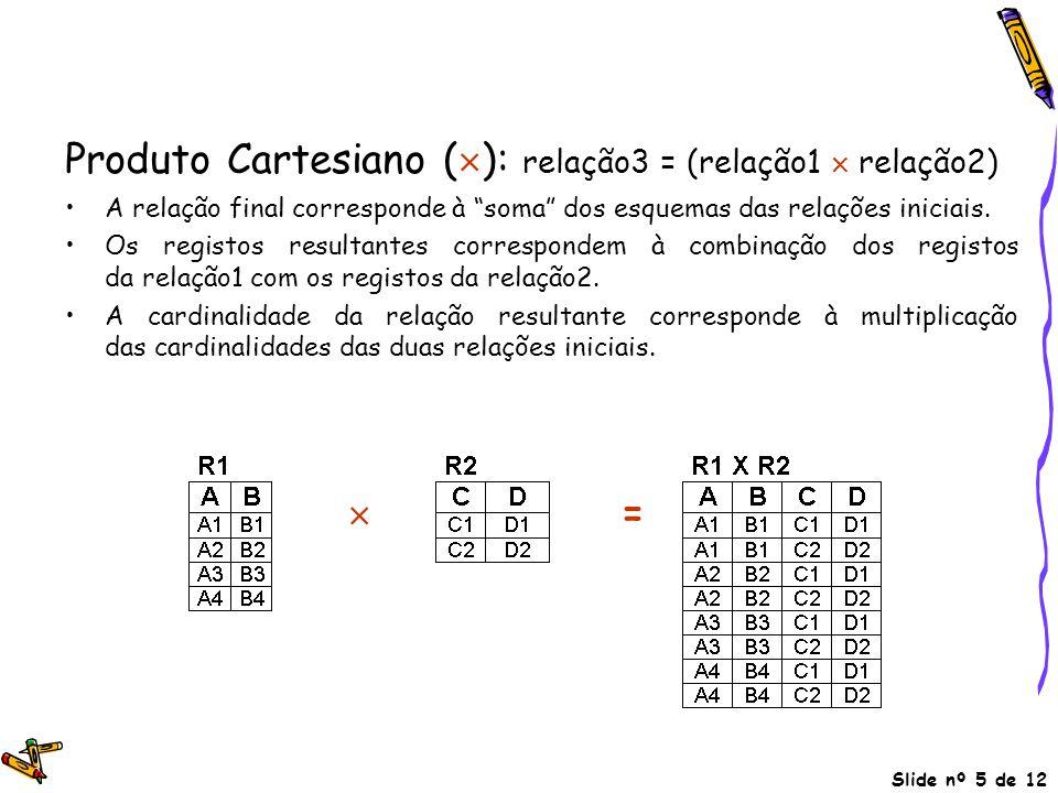 Produto Cartesiano (): relação3 = (relação1  relação2)
