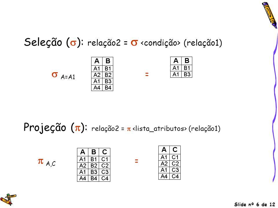 Seleção (): relação2 =  <condição> (relação1)