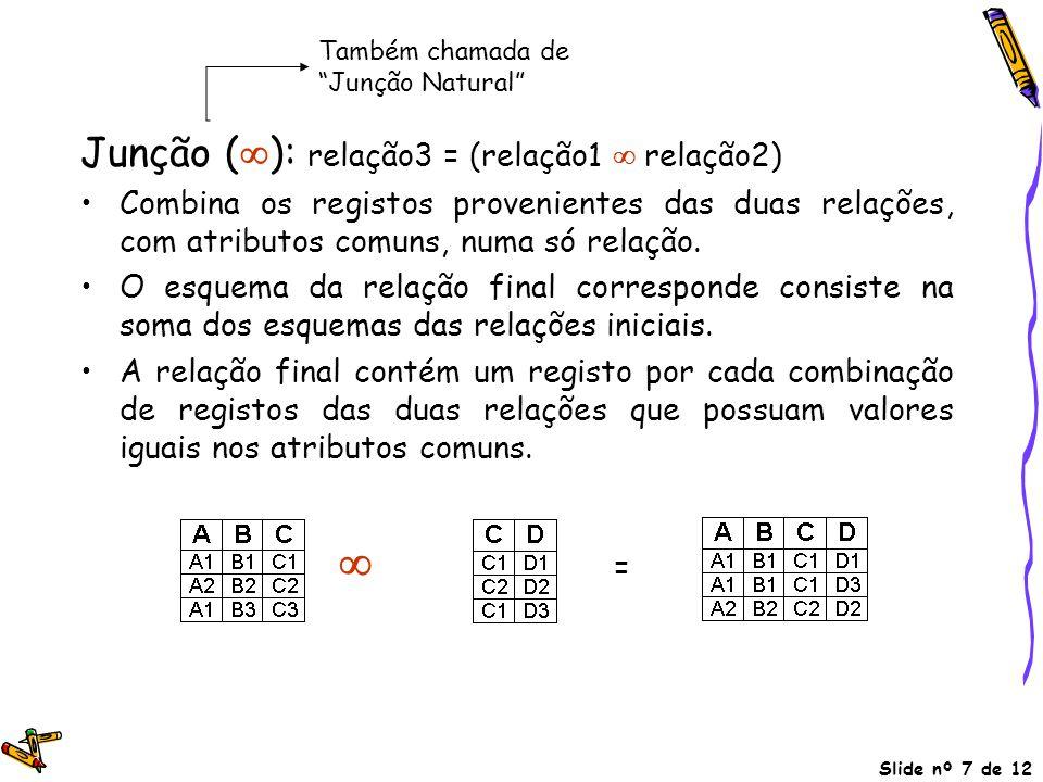 Junção (): relação3 = (relação1  relação2)
