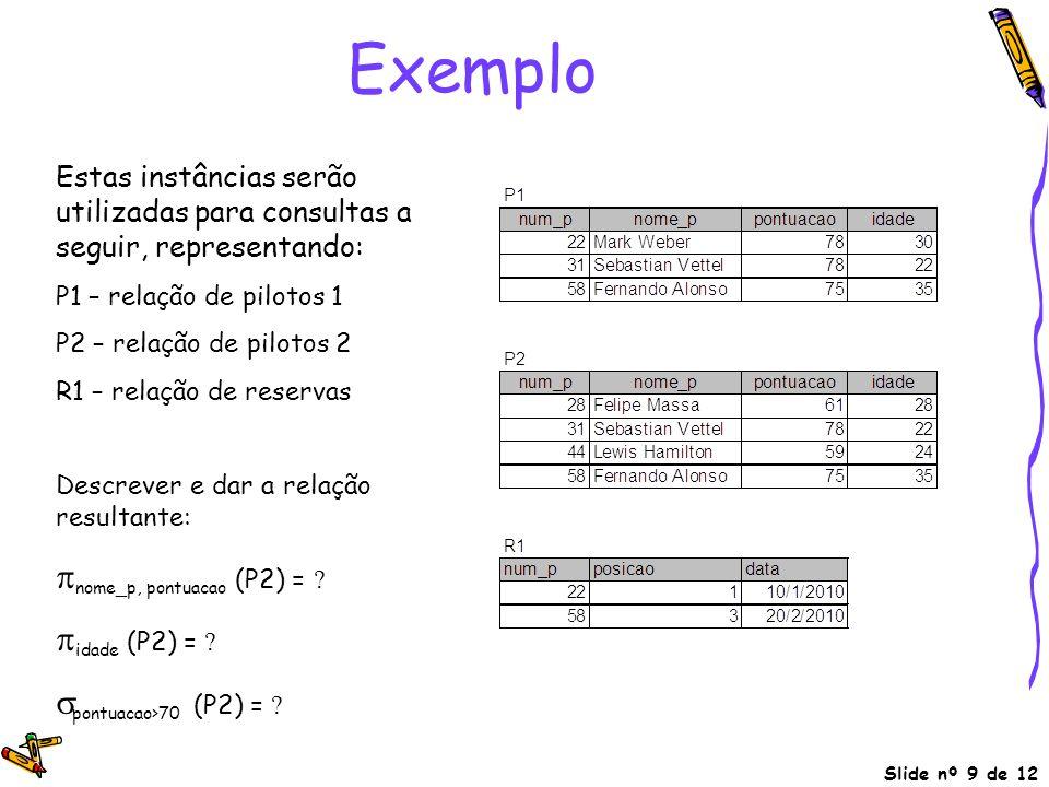 Exemplo pnome_p, pontuacao (P2) = pidade (P2) =