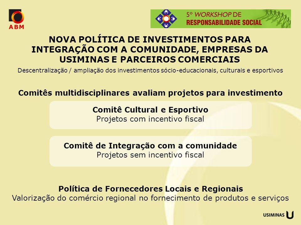 NOVA POLÍTICA DE INVESTIMENTOS PARA INTEGRAÇÃO COM A COMUNIDADE, EMPRESAS DA USIMINAS E PARCEIROS COMERCIAIS
