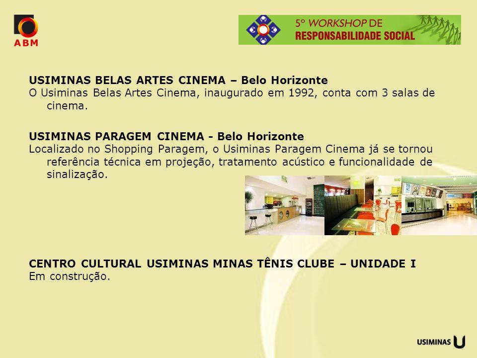 USIMINAS BELAS ARTES CINEMA – Belo Horizonte O Usiminas Belas Artes Cinema, inaugurado em 1992, conta com 3 salas de cinema.