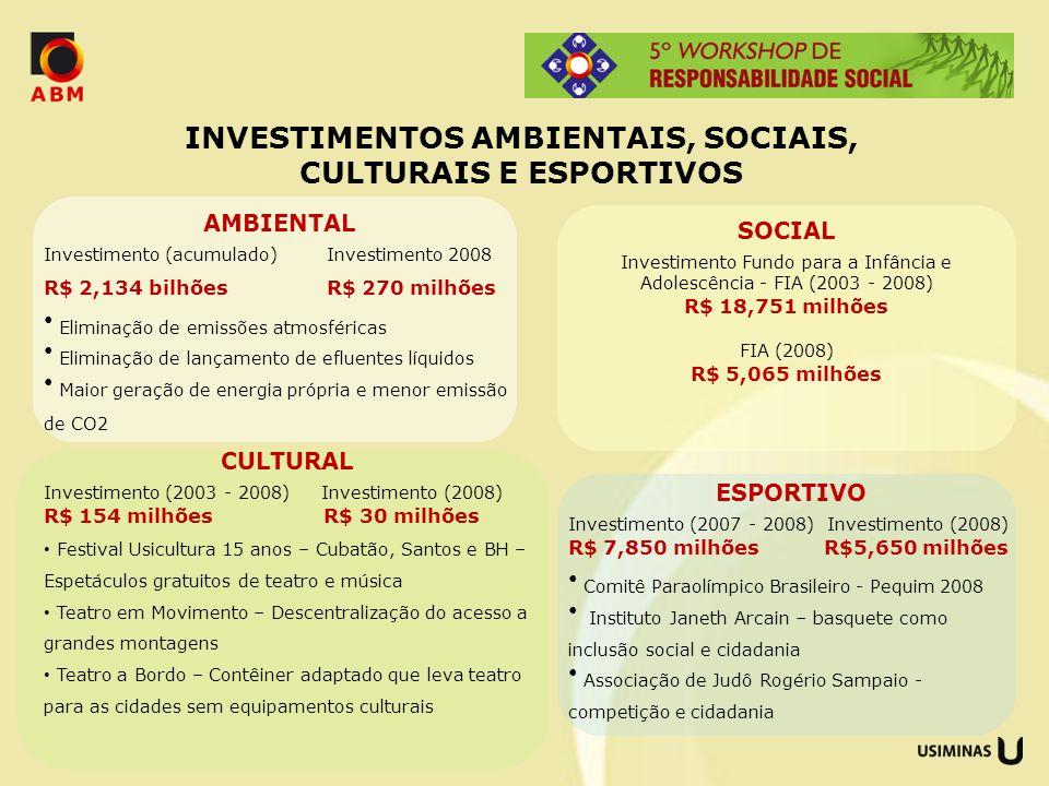 INVESTIMENTOS AMBIENTAIS, SOCIAIS, CULTURAIS E ESPORTIVOS